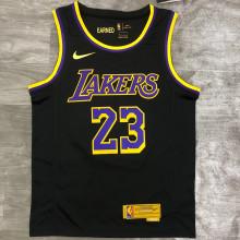 2021 LA Lakers JAMES #23 EARNED Edition Black NBA Jerseys Hot Pressed