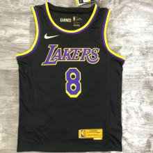 2021 LA Lakers Bryant  # 8 EARNED Edition Black NBA Jerseys Hot Pressed
