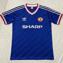 1986-1988 M Utd Away Blue Player Version Retro Soccer Jersey球员版