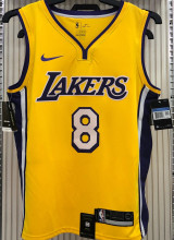 LA Lakers Bryant # 8 V-Neck Yellow NBA Jerseys Hot Pressed