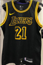 LA Lakers SMITH #21 Black Snake NBA Jerseys Hot Pressed