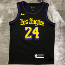2021 LA Lakers Bryant #24 Black Latin Black NBA Jerseys Hot Pressed