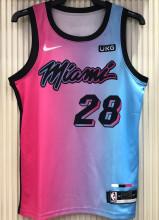 2021 Miami Heat IGUODALA #28 City Edition Pink Blue NBA Jerseys Hot Pressed