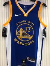2021 Warriors WISEMAN #33 V-Neck Blue NBA Jerseys Hot Pressed