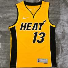 2021 Miami Heat ADEBAYO # 13 EARNED Edition Yellow NBA Jerseys Hot Pressed