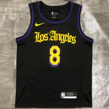 2021 LA Lakers BRYANT #8 Black Latin Black NBA Jerseys Hot Pressed