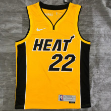 2021 Miami Heat BUTLER # 22 EARNED Edition Yellow NBA Jerseys Hot Pressed