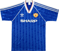 1988-1990 M Utd Away Blue Retro Soccer Jersey
