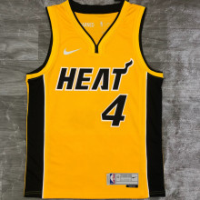 2021 Miami Heat OLADIPO #4 EARNED Edition Yellow NBA Jerseys Hot Pressed