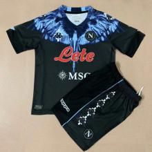 2021 Napoli Marcelo Burlon Limited Edition Black Kids Soccer Jersey