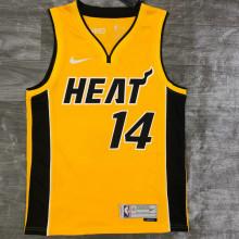 2021 Miami Heat HERRO # 14 EARNED Edition Yellow NBA Jerseys Hot Pressed