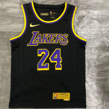 2021 LA Lakers Bryant #24 EARNED Edition Black NBA Jerseys Hot Pressed