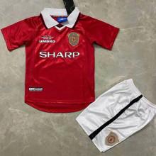 1999 M Utd Home Red Retro Kids Soccer Jersey