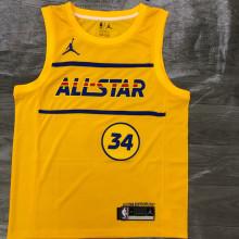 2021 ALL STAR Antetokounmpo # 34 JD Yellow NBA Jerseys Hot Pressed