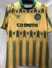 1991/92 Celtic Away Yellow Retro Soccer Jersey