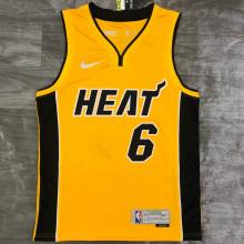 2021 Miami Heat JAMES #6 EARNED Edition Yellow NBA Jerseys Hot Pressed