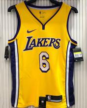 LA Lakers James # 6 V-Neck Yellow NBA Jerseys Hot Pressed