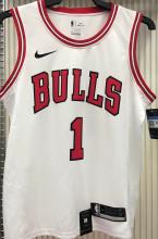 Bulls ROSE #1 White NBA Jerseys Hot Pressed