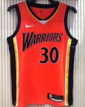 Warriors CURRY #30 Orang NBA Jerseys Hot Pressed