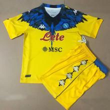 2021 Napoli Marcelo Burlon Limited Edition Yellow Kids Soccer Jersey