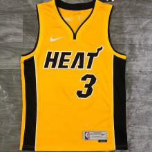 2021 Miami Heat WADE # 3 EARNED Edition Yellow NBA Jerseys Hot Pressed
