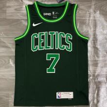 2021 Celtics BROWN #7 EARNED Edition Green NBA Jerseys Hot Pressed