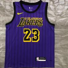 2018 LA Lakers JAMES # 23 Purple Stripe Limited Edition NBA Jerseys Hot Pressed
