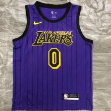 2018 LA Lakers YONUG #0 Purple Stripe Limited Edition NBA Jerseys Hot Pressed