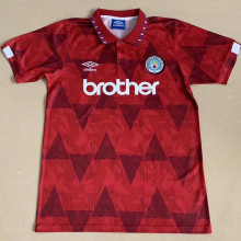 1991 Man City Away Red Retro Soccer Jersey