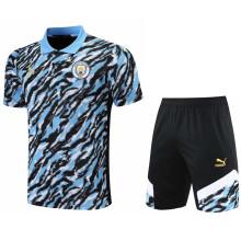 2021/22 Man City Blue Short  POLO Jersey(A Set)拉链口袋