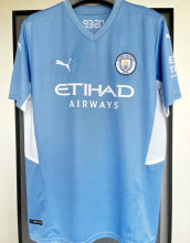 2021/22 Man City 1:1 Quality Home Blue Fans Soccer Jersey