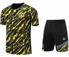 2021/22 BVB Black Yellow Short Training Jersey(A Set)拉链口袋