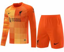 2021/22 LFC Orange Long Sleeve Soccer Jerse (A Set)(Pants Have Number)裤有号码