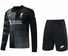 2021/22 LFC Black Long Sleeve Soccer Jerse (A Set)(Pants Have Number)裤有号码