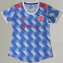 2021/22 M Utd Away Blue White Women Soccer Jersey