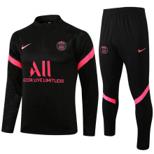 2021/22 PSG Black Half Pull Sweater Tracksuit背后有广告字