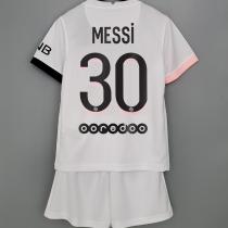 MESSI #30 PSG  Away White Kids Soccer Jersey 2021/22