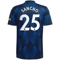SANCHO #25 M Utd 1:1 Quality Third Dark Blue Fans Jersey 2021/22 (League Font)