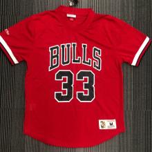 Bulls PIPPEN # 33 Red Mitchell Ness Retro Jerseys