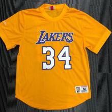 O'Neal # 34 Lakers Yellow Mitchell Ness Retro Jerseys