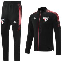 2021/22 Sao Paulo Black Jacket Tracksuit红色拉链