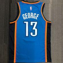 OKC THUNDER GEORGE #13 Blue NBA Jerseys Hot Pressed