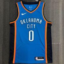 OKC THUNDER WESTBROOK # 0 Blue NBA Jerseys Hot Pressed