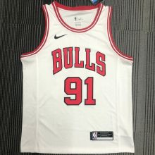 Bulls Rodman #91 White NBA Jerseys Hot Pressed