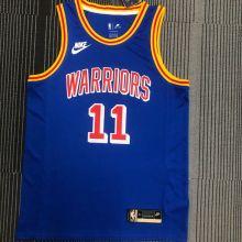 Warriors THOMPSON #11 Blue 75Years Retro NBA Jerseys Hot Pressed