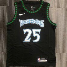 2018 Timberwolves ROSE # 25 Black Retro NBA Jerseys Hot Pressed