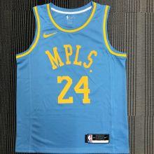 Minneapolis Lakers BRYANT #24 Blue NBA Jerseys Hot Pressed