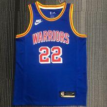Warriors WIGGINS #22 Blue 75Years Retro NBA Jerseys Hot Pressed