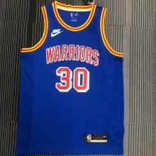 Warriors CURRY #30 Blue 75Years Retro NBA Jerseys Hot Pressed