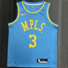 Minneapolis Lakers DAVIS #3 Blue NBA Jerseys Hot Pressed